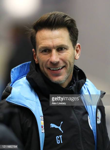 Gareth Taylor the manager of Manchester City U18's looks on during the Premier League Cup Final between Manchester City and Stoke City at The Academy...