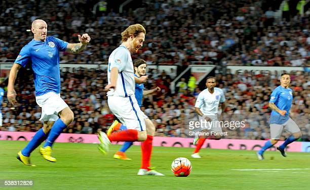 Gareth Thomas and Damian Lewis play during Soccer Aid at Old Trafford on June 5, 2016 in Manchester, England.