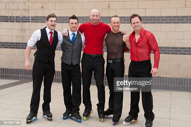Gareth Thomas Daniel Whiston and Kyran Bracke attend a photocall for Celebritiess on Ice hours before the first show on the opening weekend was...