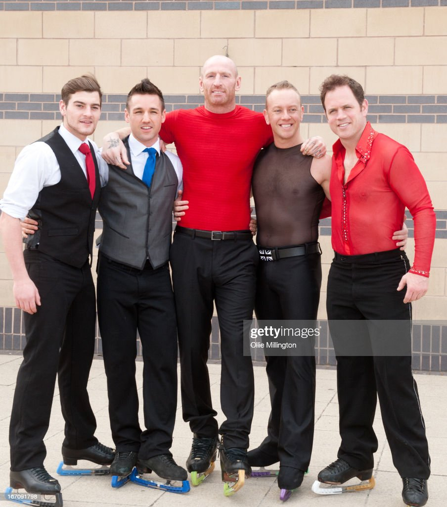 Gareth Thomas, Daniel Whiston and Kyran Bracke attend a photocall for Celebritiess on Ice hours before the first show on the opening weekend was called off due to the ice in the arena melting. on April 19, 2013 in Birmingham, England.