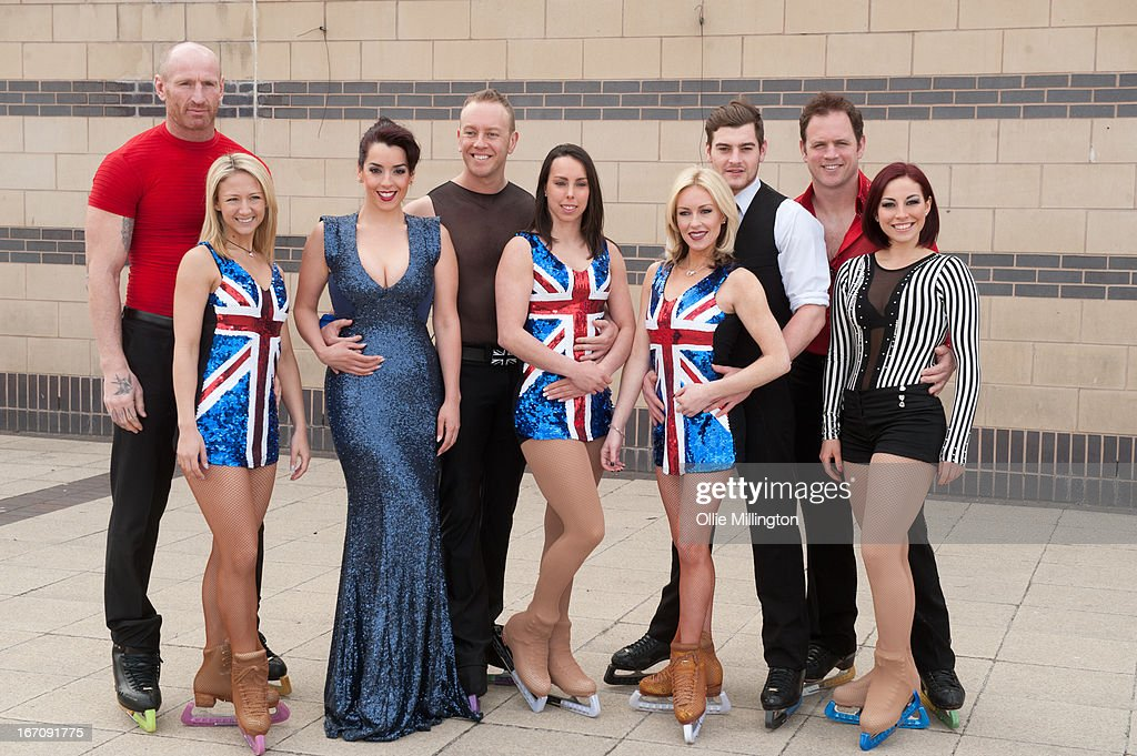 Gareth Thomas, Jenna Smith, Ruth Lorenzo, Dan Whiston, Beth Tweddl, Brianne Delcourt, Matt Lapinskas and Kyran Bracken and his dance partner attend a photocall for Celebritiess on Ice hours before the first show on the opening weekend was called off due to the ice in the arena melting. on April 19, 2013 in Birmingham, England.