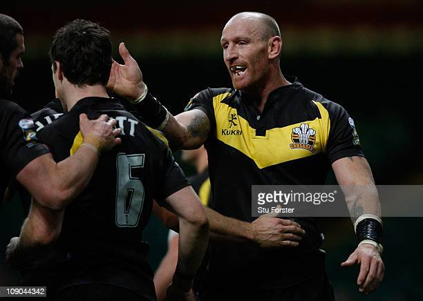 Gareth Thomas of Crusaders congratulates Michael Witt after scoring during the Engage Super League Match between Crusaders RL and Salford City Reds...