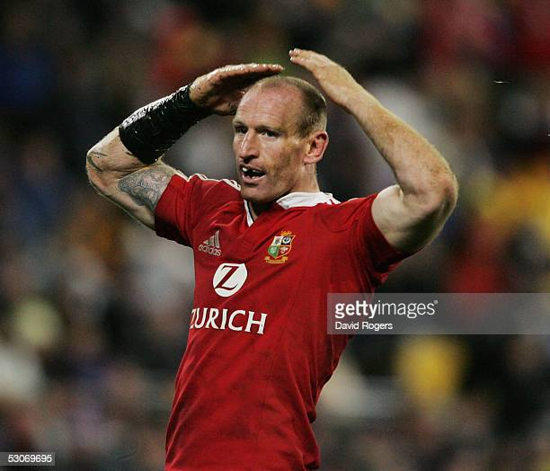 Gareth Thomas the Lions wing celebrates after scoring the second Lions try during the match between the British and Irish Lions and Wellington at The...