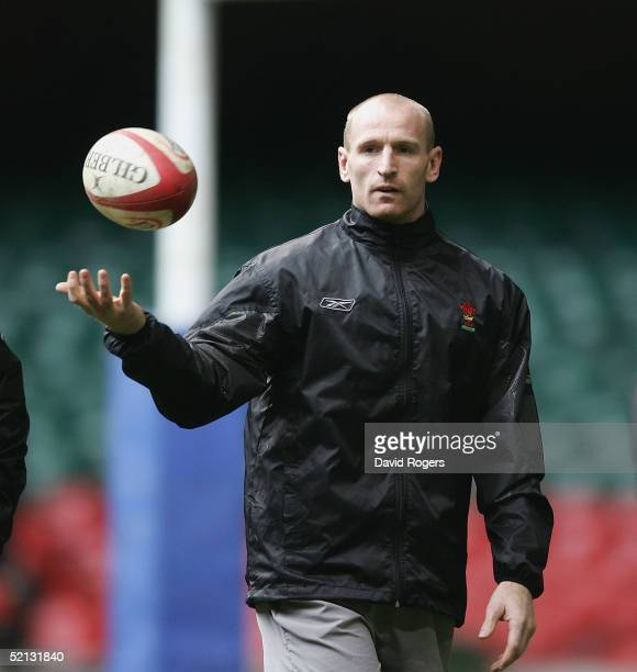 Gareth Thomas the Welsh captain catches the ball during the Wales rugby union training session held at The Millennium Stadium on February 4 2005 in...