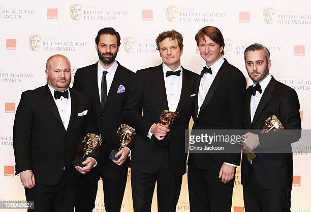 Gareth Unwin Emile Sherman Colin Firth Tom Hooper and Iain Canning pose with the award for Best Film for the film The King's Speech during the 2011...