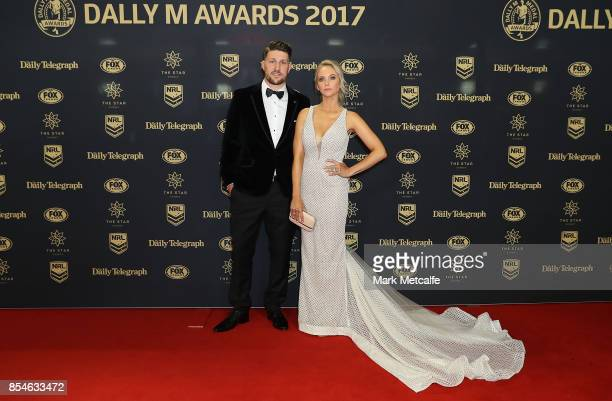 Gareth Widdop and Carley Widdop arrive ahead of the 2017 Dally M Awards at The Star on September 27 2017 in Sydney Australia