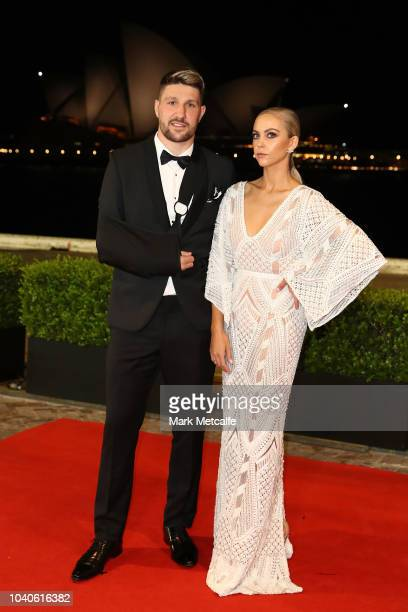 Gareth Widdop and Carley Widdop arrive at the 2018 Dally M Awards at Overseas Passenger Terminal on September 26 2018 in Sydney Australia