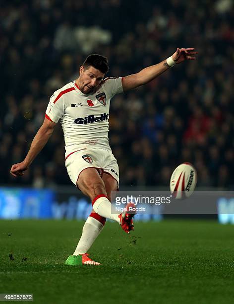 Gareth Widdop of England kicks a conversion during the International Rugby League Test Series match between England and New Zealand at KC Stadium on...