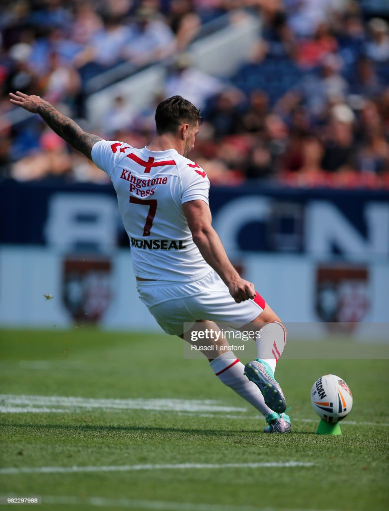 Gareth Widdop of England kicks a goal during the second half of a Rugby League Test Match between England and the New Zealand Kiwis at Sports Authority Field at Mile High on June 23, 2018 in Denver, Colorado.