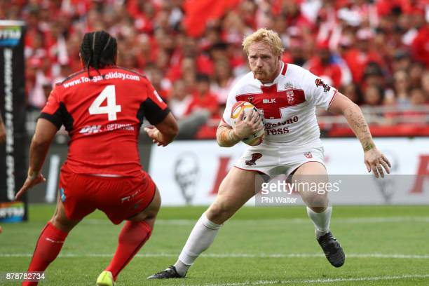 Gareth Widdop of England makes an attack during the 2017 Rugby League World Cup Semi Final match between Tonga and England at Mt Smart Stadium on...
