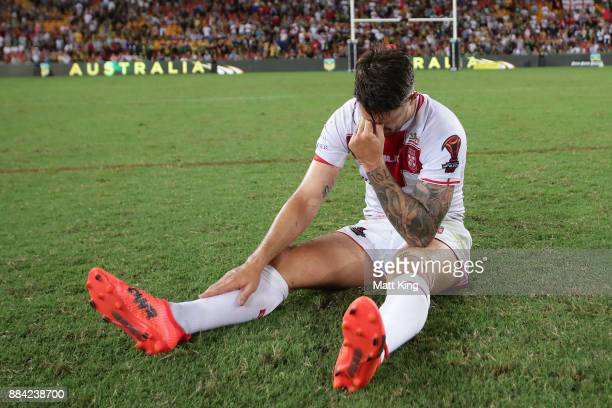 Gareth Widdop of England shows his emotion after the 2017 Rugby League World Cup Final between the Australian Kangaroos and England at Suncorp...