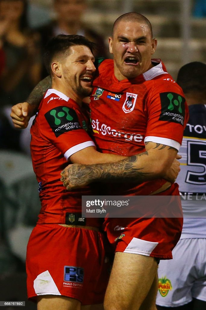 Gareth Widdop of the Dragons is congratulated by Russell Packer of the Dragons after scoring a try during the round seven NRL match between the St George Illawarra Dragons and the North Queensland Cowboys at WIN Stadium on April 15, 2017 in Wollongong, Australia.