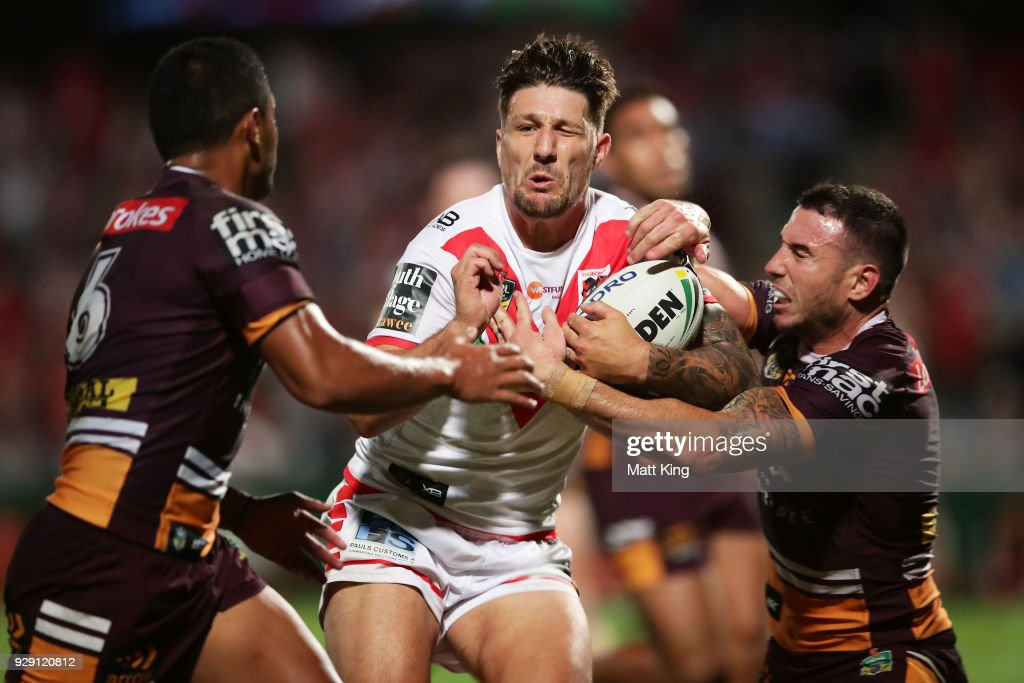Gareth Widdop of the Dragons is tackled during the round one NRL match between the St George Illawarra Dragons and the Brisbane Broncos at UOW Jubilee Oval on March 8, 2018 in Sydney, Australia.