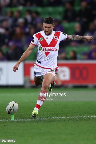 Gareth Widdop of the Dragons kicks a conversion during the round 17 NRL match between the Melbourne Storm and the St George Illawarra Dragons at AAMI...