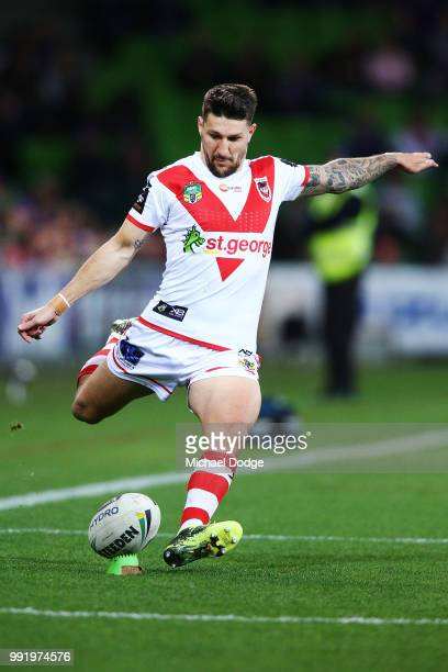 Gareth Widdop of the Dragons kicks the ball during the round 17 NRL match between the Melbourne Storm and the St George Illawarra Dragons at AAMI...