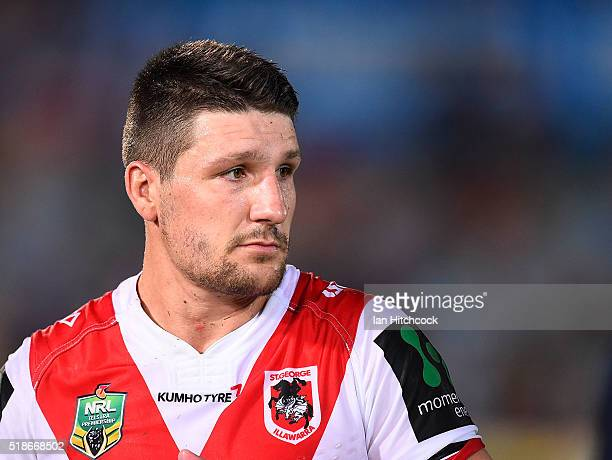 Gareth Widdop of the Dragons looks dejected after losing the round five NRL match between the North Queensland Cowboys and the St George Illawarra...