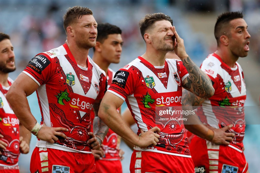 Gareth Widdop of the Dragons looks dejected during the round 10 NRL match between the South Sydney Rabbitohs and the St George Illawarra Dragons at ANZ Stadium on May 13, 2018 in Sydney, Australia.