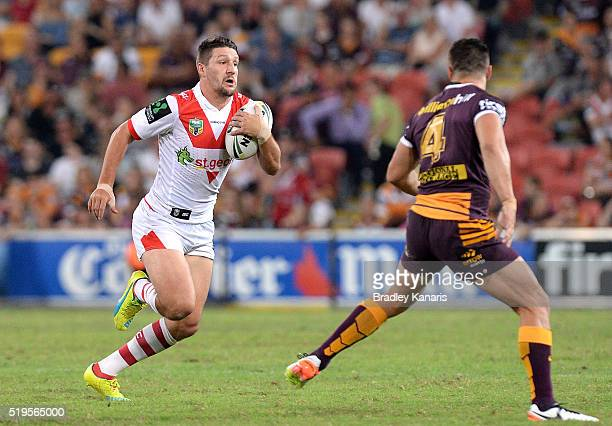 Gareth Widdop of the Dragons looks to take on the defence during the round six NRL match between the Brisbane Broncos and the St George Illawarra...