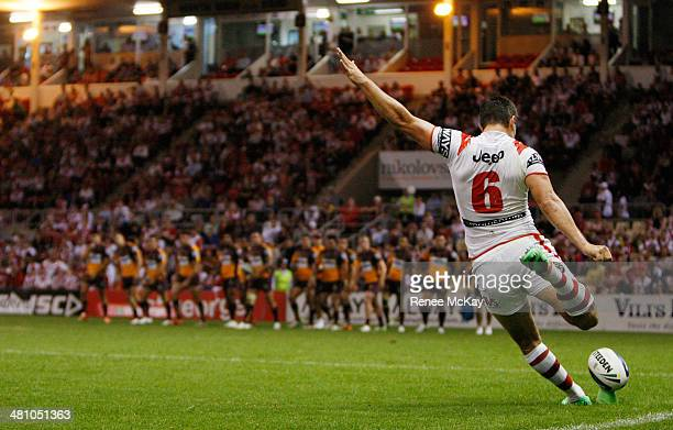 Gareth Widdop of the Dragons makes a conversion during the round four NRL match between the St George Illawarra Dragons and the Brisbane Broncos at...