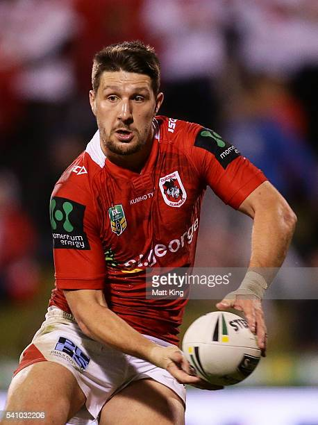 Gareth Widdop of the Dragons passes during the round 15 NRL match between the St George Illawarra Dragons and the Melbourne Storm at WIN Stadium on...