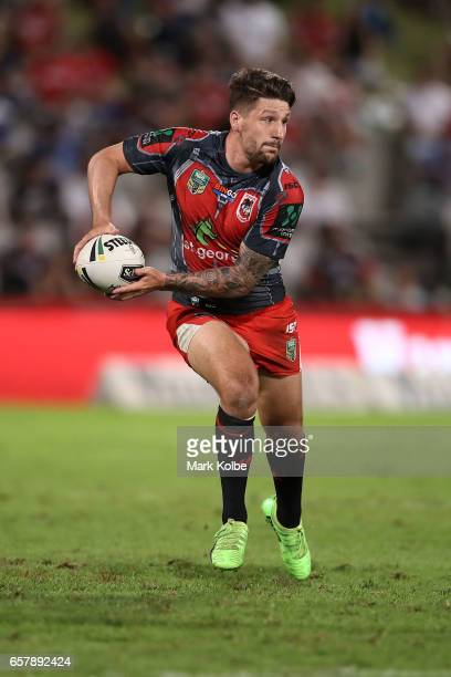 Gareth Widdop of the Dragons passes during the round four NRL match between the St George Illawarra Dragons and the New Zealand Warriors at UOW...