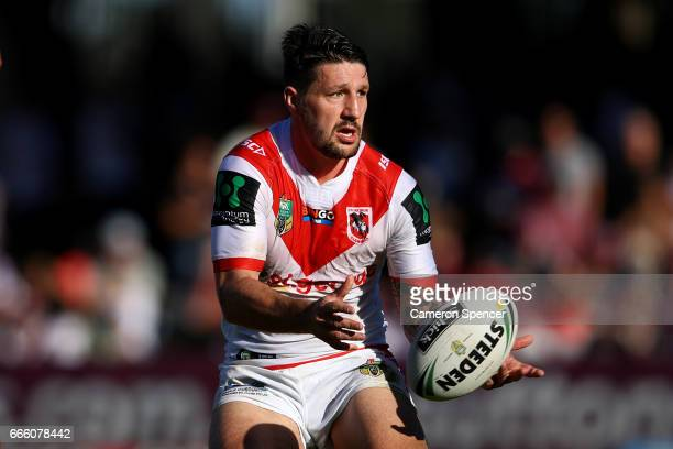 Gareth Widdop of the Dragons passes during the round six NRL match between the Manly Sea Eagles and the St George Illawarra Dragons at Lottoland on...