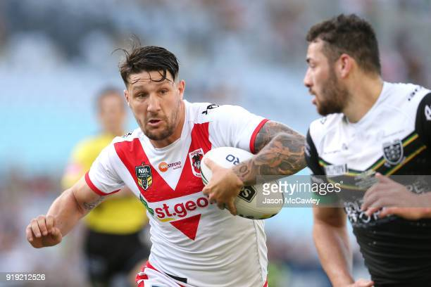 Gareth Widdop of the Dragons runs with the ball during the NRL trial match between the St George Illawarra Dragons and Hull at ANZ Stadium on...