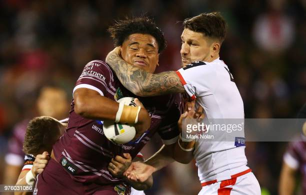 Gareth Widdop of the Dragons tackles Moses Suli of the Eagles during the round 15 NRL match between the St George Illawarra Dragons and the Manly Sea...