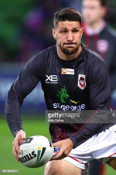Gareth Widdop of the Dragons warms up prior to the round 17 NRL match between the Melbourne Storm and the St George Illawarra Dragons at AAMI Park on...