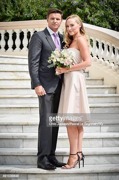 Gareth Wittstock and Roisin Galvin Wittstock attend the wedding ceremony of Gareth Wittstock and Roisin Galvin on September 3 2015 in Monaco Monaco