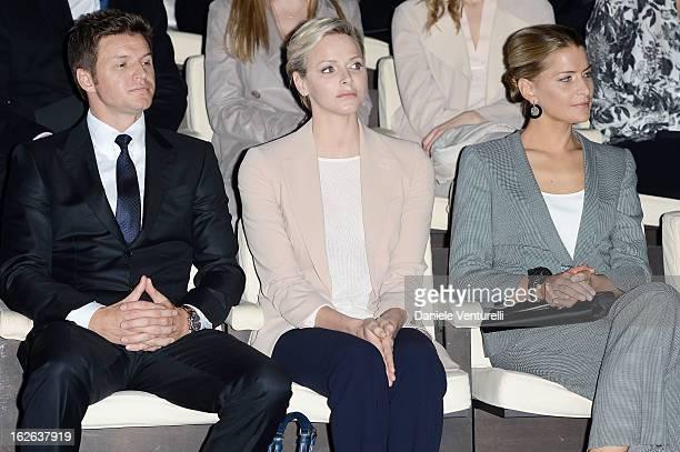 Gareth Wittstock Princess Charlene of Monaco and Tatiana Blatnik attend the Giorgio Armani fashion show during Milan Fashion Week Womenswear...
