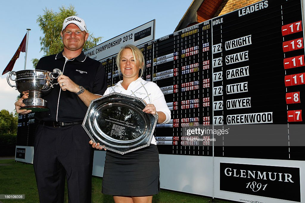 Gareth Wright of West Linton Golf Club and Alexandra Keighley of Huddersfield Golf Club pictured after winning the Glenmuir PGA Professional Championship at Carden Park Golf Club on August 10, 2012 in Chester, England.