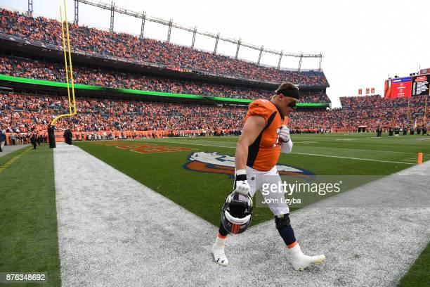 Garett Bolles of the Denver Broncos walks on the field before the game against the Cincinnati Bengals in the first quarter The Denver Broncos hosted...