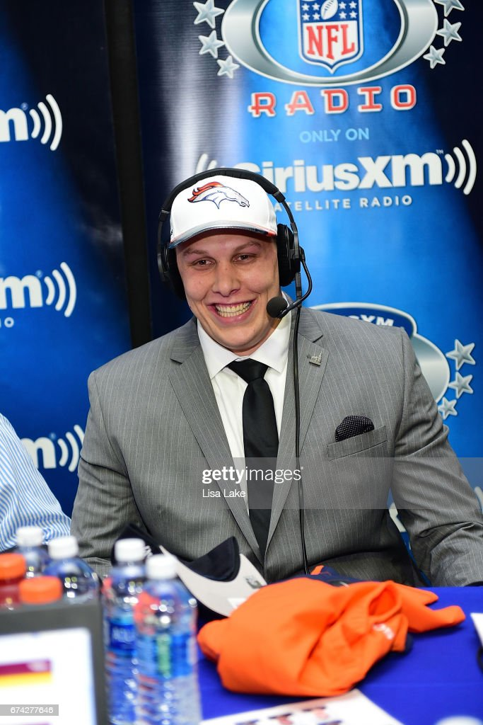 Garett Bolles of Utah visits the SiriusXM NFL Radio talkshow after being picked #20 overall by the Denver Broncos during the first round of 2017 NFL Draft at Philadelphia Museum of Art on April 27, 2017 in Philadelphia, Pennsylvania.