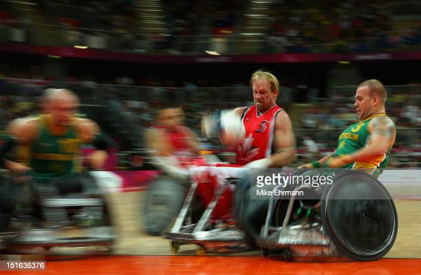 Garett Hickling of Canada in action during the Gold Medal match of Mixed Wheelchair Rugby against Australia on day 11 of the London 2012 Paralympic...