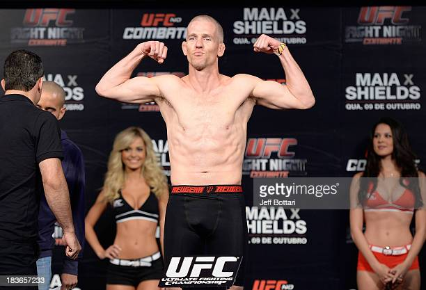 Garett Whiteley weighs-in during the UFC Fight Night: Maia v Shields weigh-in at the Ginasio Jose Correa on October 8, 2013 in Barueri, Sao Paulo,...