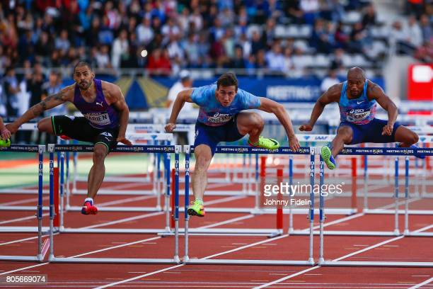 Garfield Darien of France Sergey Shubenkov and Antonio Alkana of South Africa Men's 110m Hurdles during the Meeting de Paris of the IAAF Diamond...