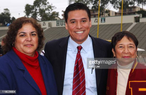 Garfield High principal Guadalupe Paramo Los Angeles Unified School District Board of Education president Jose Huizar and Roosevelt High principal...
