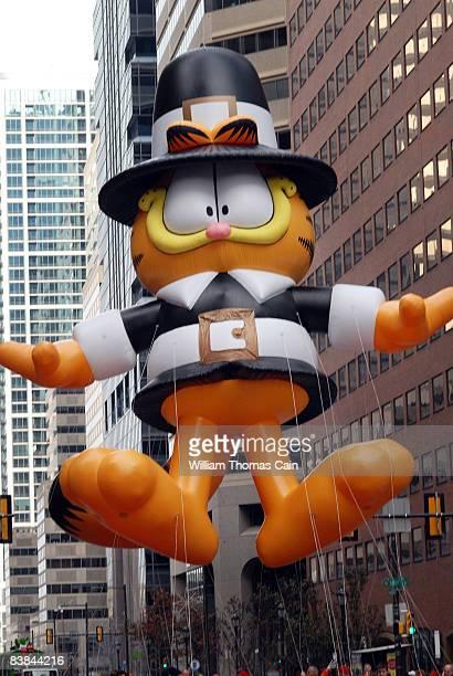 Garfield Pilgrim balloon is pulled along Market Street during the 6ABC/IKEA Thanksgiving Day Parade November 27, 2008 in Philadelphia, Pennsylvania....