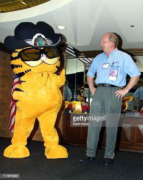 Garfield with his creator Jim Davis during Cool Cats Petty Garfield Come Together at Daytona International Speedway in Daytona Beach Florida United...