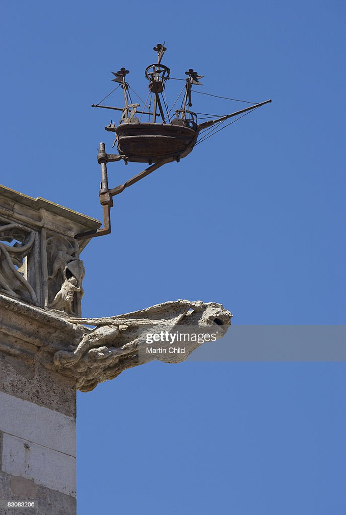 gargoyle and boat, Loge de Mer : Stock Photo