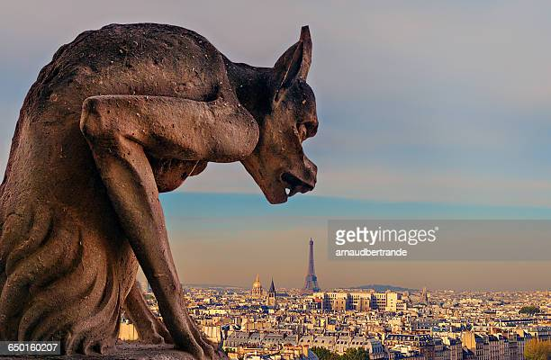 Gargoyle on Notre Dame with view of Paris in the background, Paris, France