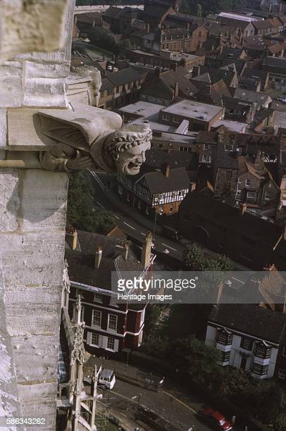 Gargoyle on tower York Minster 1958 The largest gothic cathedral in northern Europe and seat of the Archbishop of York Walter de Gray archbishop in...