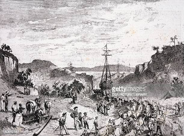 Garibaldi and his men carrying boats from Los Patos lagoon to Tramandahy lake during the Rio Grande do Sul War South America 19th century