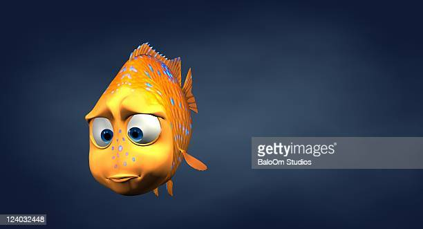 garibaldi fish in 3d cartoon - clip stock pictures, royalty-free photos & images