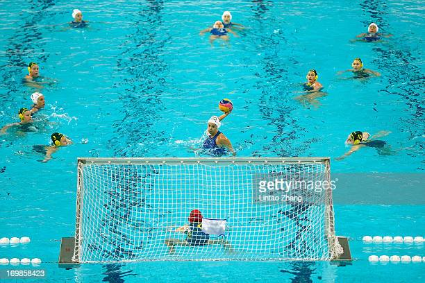 Garibotti Arianna of Italy throws the ball during day three of the FINA Women's World League Super Final 2013 match between Australia and Italy at...