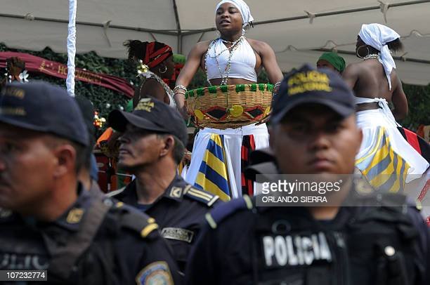 Garifuna ethnic group people dance at the central square of Tegucigalpa as some 15000 National Police agents start the Navidad Feliz operation on...