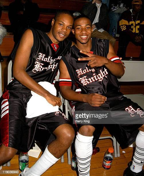 Garikayi Mutambirua and Arlen Escarpeta during Hollywood Knights Charity Basketball GameGlendale at Glendale High School in Glendale CA United States