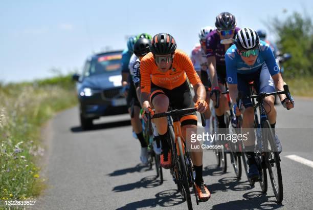 Garikoitz Bravo Oiarbide of Spain and Team Euskaltel - Euskadi & Juri Hollmann of Germany and Movistar Team in breakaway during the 45th La Route...