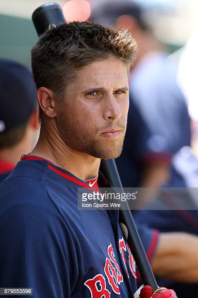 Garin Cecchini of the Red Sox during the spring training game between the Boston Red Sox and the Philadelphia Phillies at the Bright House Field in...